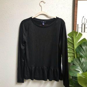 GAP Black Long-sleeve Peplum Blouse